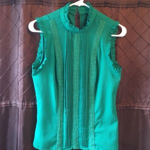 Kelly green mock turtle neck blouse